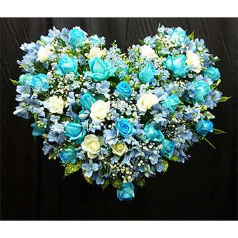 青バラ(スカイブルー) ハートのスタンド花