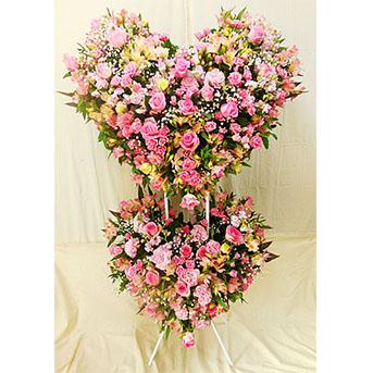 ハートのスタンド花 ピンク系2段タイプ