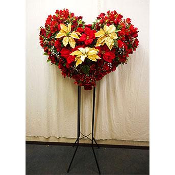 クリスマス期間限定 ハートのスタンド花 ポインセチア(ゴールド&レッド)