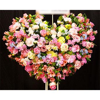 青バラとユリの豪華なスタンド花 フラワーショップリラ