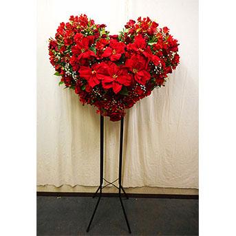 クリスマス期間限定ポインセチアと赤バラのハートのスタンド花 1段タイプ