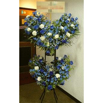 青バラ ハートのスタンド花2段タイプ