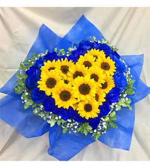 ひまわり 青バラ ハートのふらあーアレンジ 楽屋花