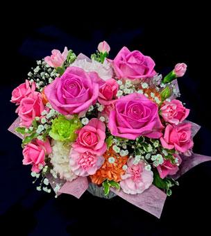 フラワーアレンジ 楽屋花 ピンクのバラ