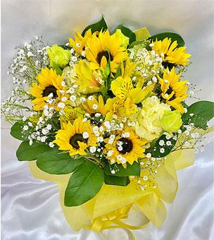 ひまわりと季節の花の花束