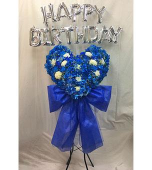 青バラハートのスタンド花 HAPPY BIRTHDAY