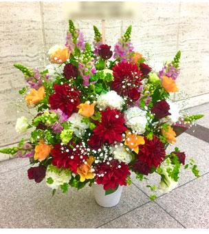 ダリアと季節の花のフラワーアレンジ 楽屋花
